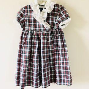 Ralph Lauren Girls Plaid Ruffle Dress 24 Months